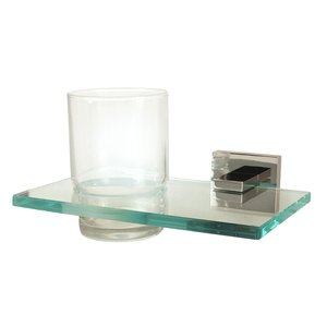 Alno Creations Bathroom Accessories - Contemporary II Tumbler Holder with Tumbler in Polished Nickel