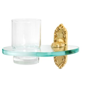 Alno Creations Bathroom Accessories - Ribbon & Reed Tumbler Holder with Tumbler in Polished Brass