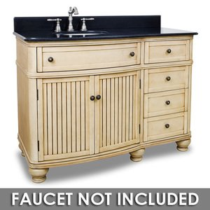 "Elements by Hardware Resources - Compton - 48"" Bathroom Vanity in Buttercream with Black Granite Top and Bowl"