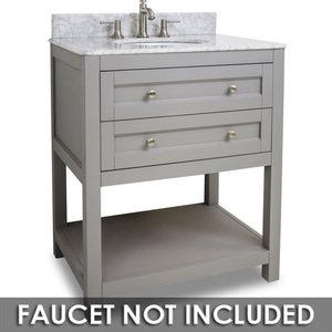 "Jeffrey Alexander by Hardware Resources - Astoria Modern - Vanity 30"" x 22"" x 36"" in Grey with White Top"