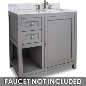 "Jeffrey Alexander by Hardware Resources - Astoria Modern - Vanity 36"" x 22"" x 36"" in Grey with White Top"