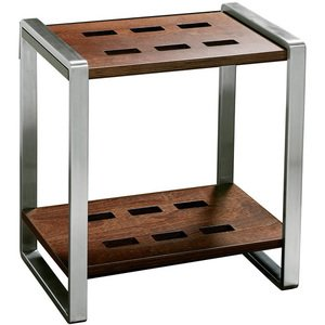 Italbrass Stay Collection - Free Standing Shower Stool with Wooden Seat and Shelf