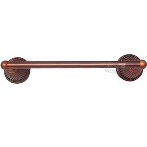 "RK International Hardware Bath Accessories - 24"" Beaded Bell Base Towel Bar in Distressed Copper"