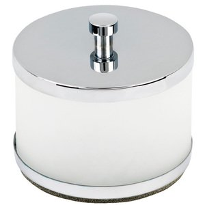 Topex Decorative Hardware - Solid Brass Free Standing Q Tip/Cotton Ball Jar in Polished Chrome