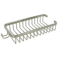 "Deltana Hardware - Solid Brass Bathroom Baskets - Solid Brass 10"" Rectangular Wire Basket with Hook in Polished Nickel"