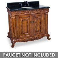 "Jeffrey Alexander - Large Bathroom Vanities - 39"" Bathroom Vanity in Golden Pecan with Black Granite Top and Bowl"