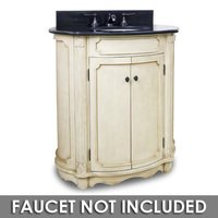 "Elements Hardware - Small Bathroom Vanities - 30 1/2"" Bathroom Vanity in Buttercream with Black Granite Top and Bowl"