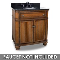 "Elements Hardware - Large Bathroom Vanities - 32"" Bathroom Vanity in Walnut with Black Granite Top and Bowl"