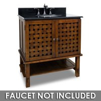 "Elements Hardware - Large Bathroom Vanities - 31 1/2"" Bathroom Vanity in Nutmeg with Black Granite Top and Bowl"