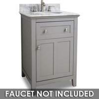 "Hardware Resources - Jeffrey Alexander  Small Bathroom Vanities - Vanity 24"" x 22"" x 36"" in Grey with White Top"