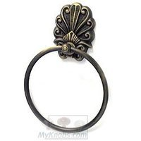 RK International - Peacock Design - Towel Ring in Antique English