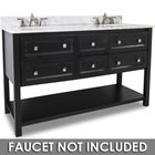 "Elements by Hardware Resources - Adler - 60"" Double Vanity with Preassembled Top and Bowl in Painted Black with White Top"
